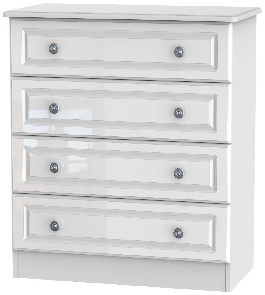Pembroke High Gloss White 4 Drawer Chest