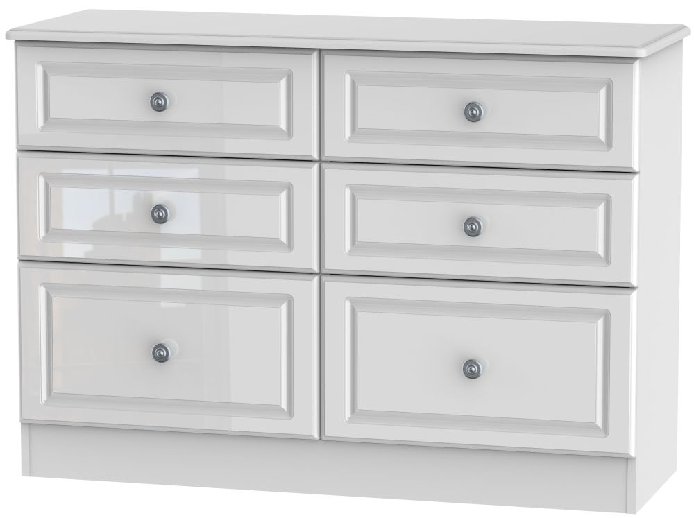 Pembroke High Gloss White Chest of Drawer - 6 Drawer Midi