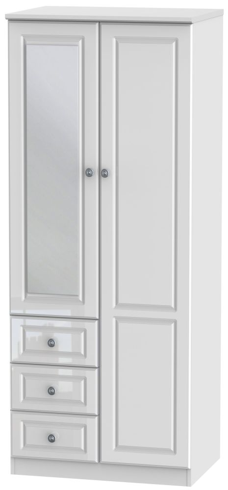 Pembroke High Gloss White Combination Wardrobe