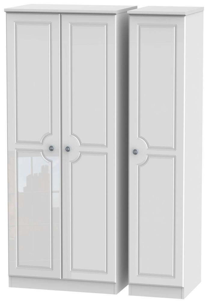 Pembroke High Gloss White 3 Door Plain Wardrobe