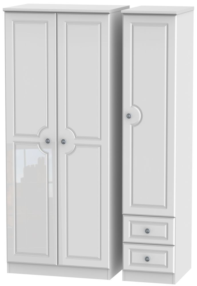 Pembroke High Gloss White 3 Door 2 Drawer Plain Wardrobe