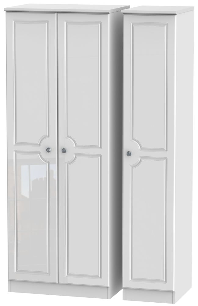 Pembroke High Gloss White 3 Door Tall Plain Triple Wardrobe
