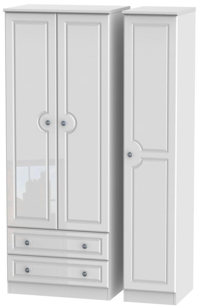 Pembroke High Gloss White 3 Door 2 Drawer Tall Wardrobe