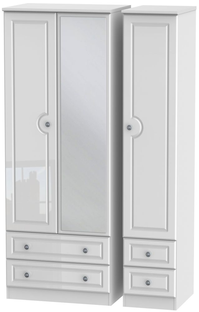Pembroke High Gloss White Triple Wardrobe - Tall with Mirror and Drawer