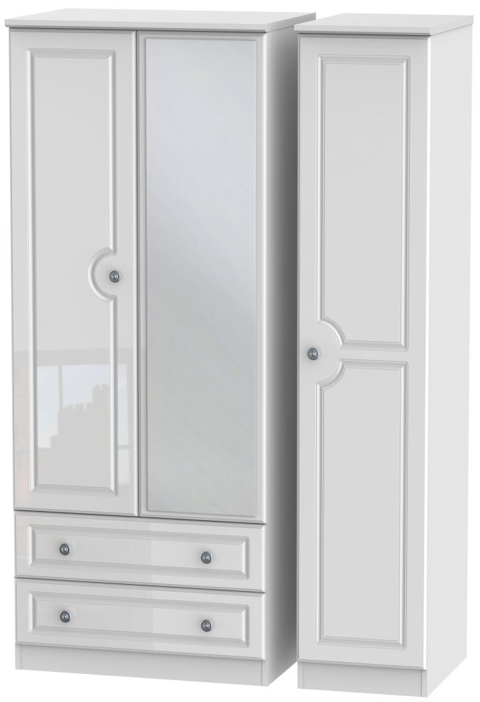 Pembroke High Gloss White 3 Door 2 Left Drawer Mirror Wardrobe
