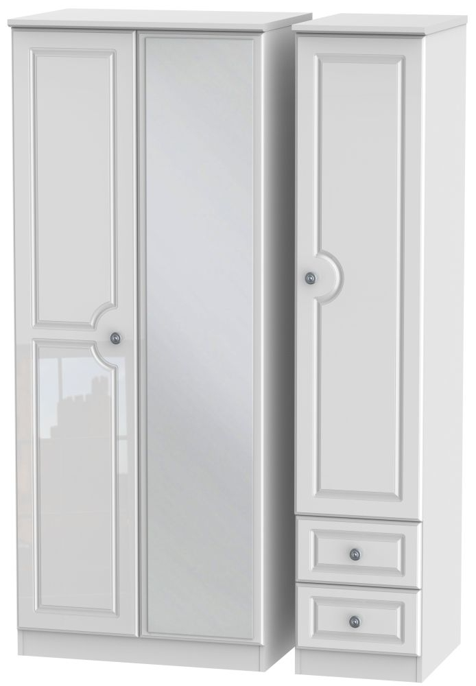 Pembroke High Gloss White 3 Door 2 Right Drawer Mirror Triple Wardrobe