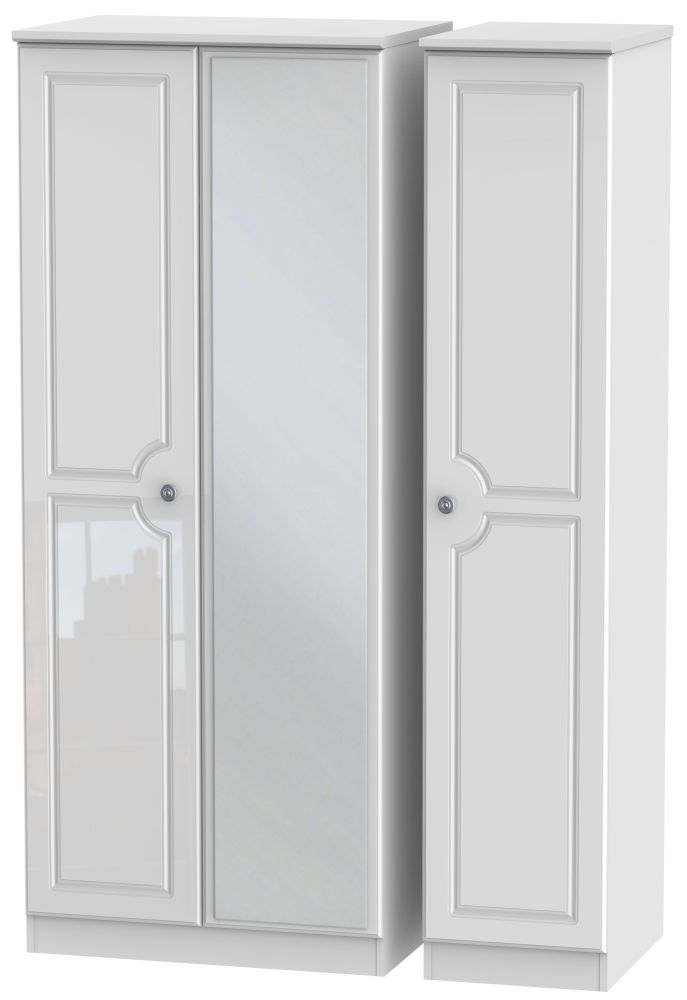Pembroke High Gloss White Triple Wardrobe with Mirror