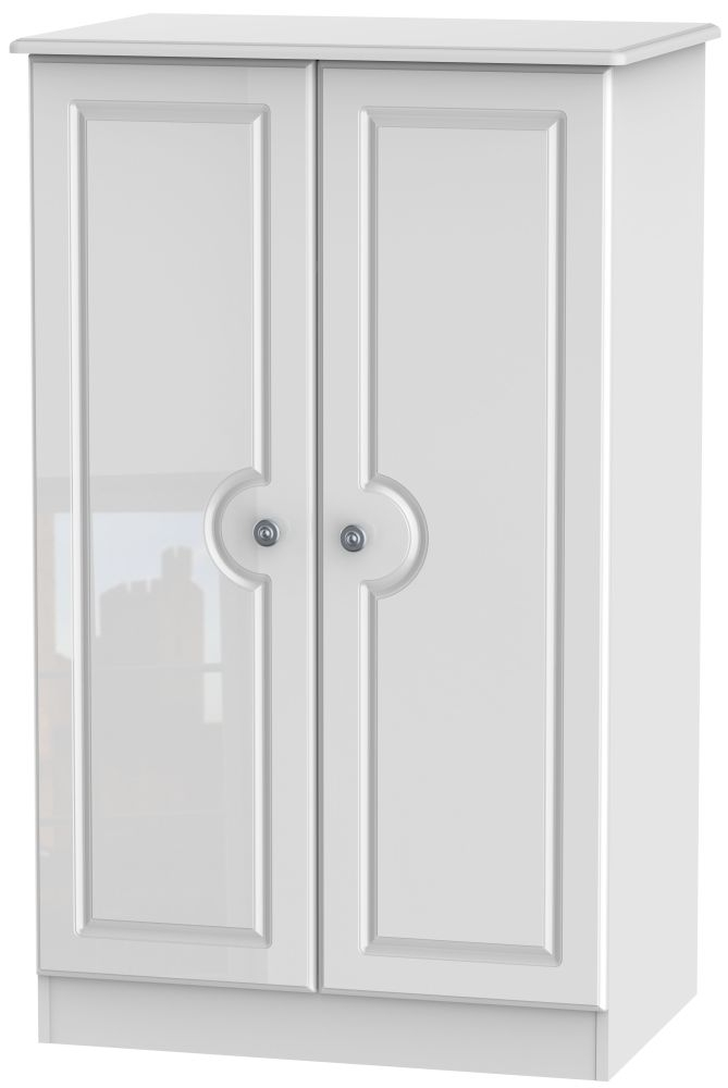 Pembroke High Gloss White 2 Door Plain Midi Wardrobe