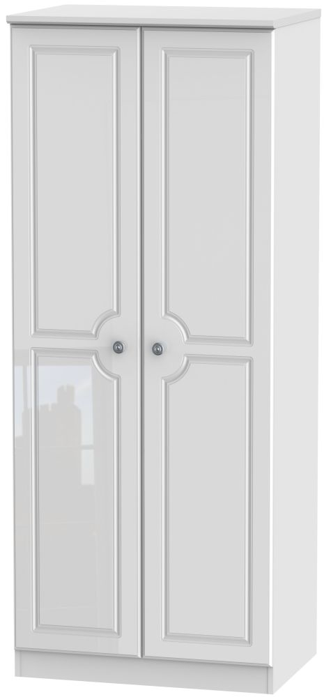 Pembroke High Gloss White 2 Door 2ft 6in Plain Wardrobe