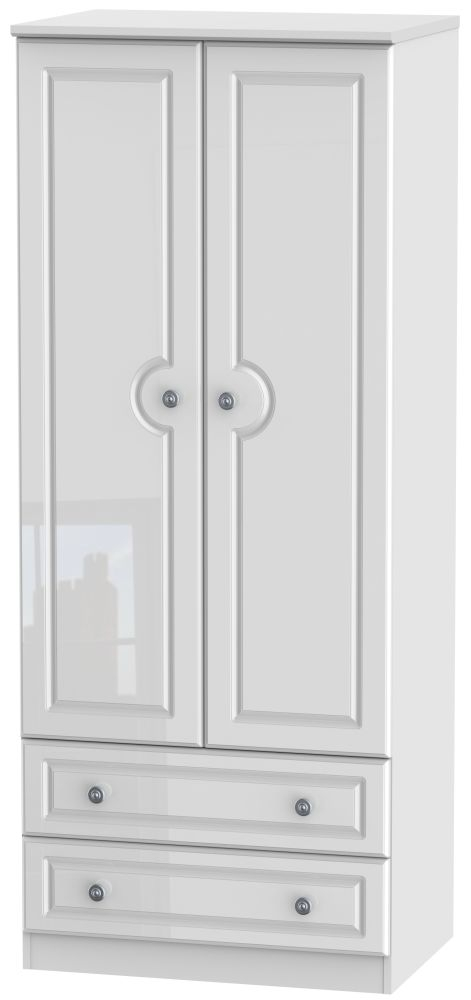 Pembroke High Gloss White 2 Door 2 Drawer 2ft 6in Wardrobe