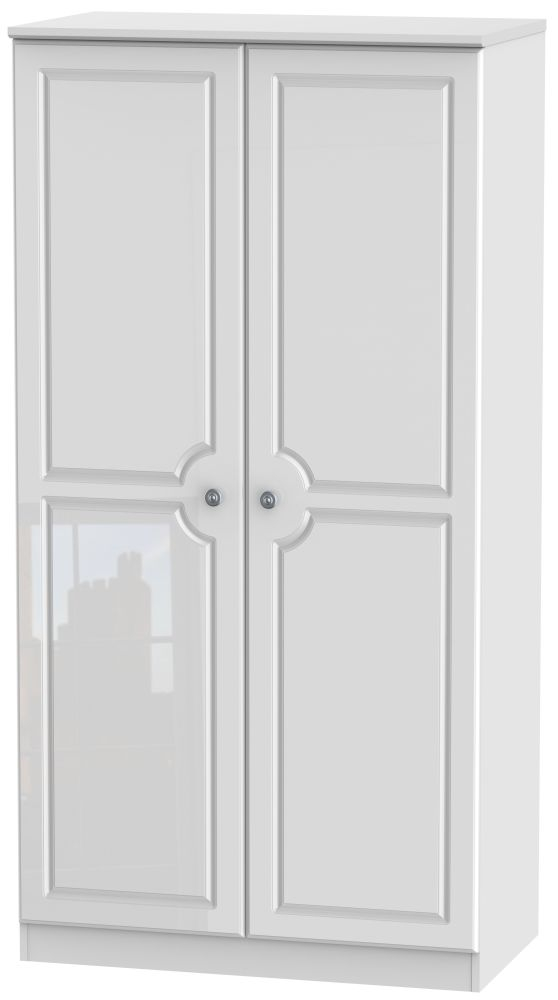 Pembroke High Gloss White Wardrobe - 3ft Plain