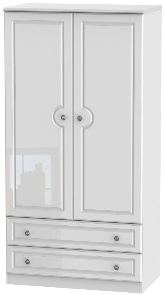 Pembroke High Gloss White 2 Door 2 Drawer 3ft Double Wardrobe