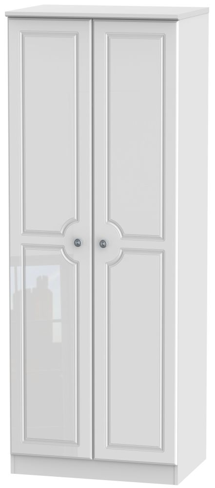 Pembroke High Gloss White 2 Door Tall Plain Double Wardrobe