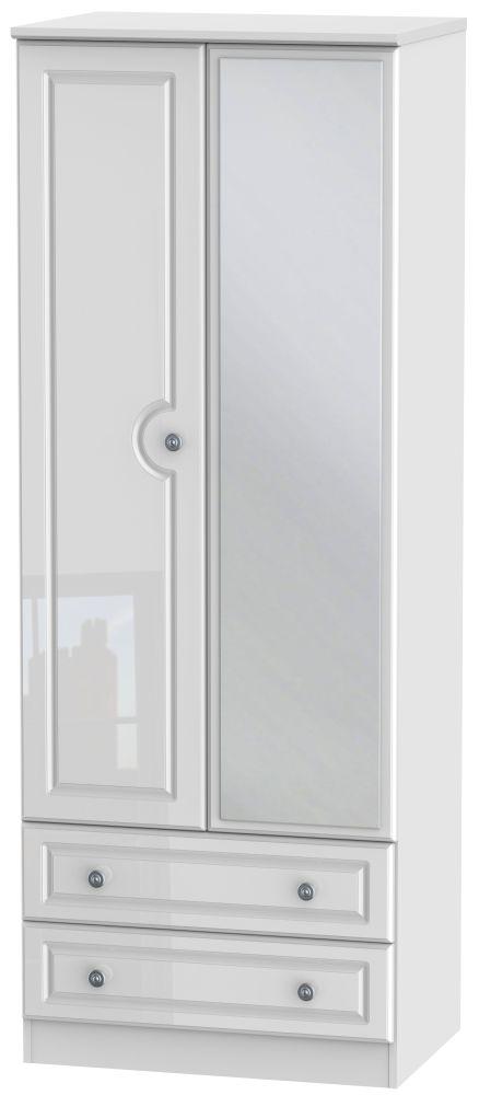 Pembroke High Gloss White 2 Door Tall Mirror Combi Wardrobe