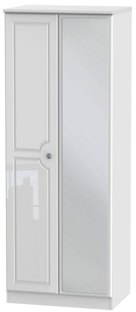 Pembroke High Gloss White 2 Door Tall Mirror Double Wardrobe