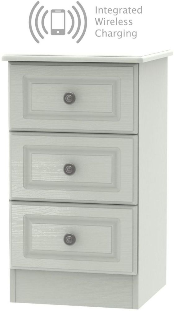 Pembroke Kaschmir Ash 3 Drawer Bedside Cabinet with Integrated Wireless Charging