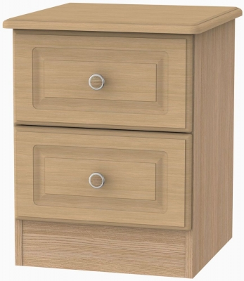Pembroke Light Oak Bedside Cabinet - 2 Drawer Locker