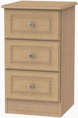 Pembroke Light Oak Bedside Cabinet - 3 Drawer Locker