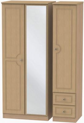 Pembroke Light Oak Triple Wardrobe - Mirror with 2 Drawer