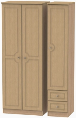 Pembroke Light Oak Triple Wardrobe - Tall Plain with 2 Drawer