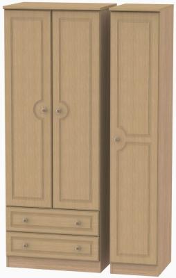 Pembroke Light Oak Triple Wardrobe - Tall with 2 Drawer