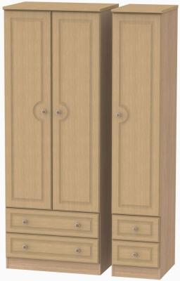 Pembroke Light Oak Triple Wardrobe - Tall with Drawer