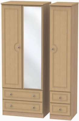 Pembroke Light Oak Triple Wardrobe - Tall with Mirror and Drawer