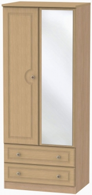 Pembroke Light Oak Wardrobe - 2ft 6in with 2 Drawer and Mirror
