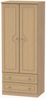 Pembroke Light Oak Wardrobe - 2ft 6in with 2 Drawer