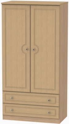 Pembroke Light Oak Wardrobe - 3ft with 2 Drawer