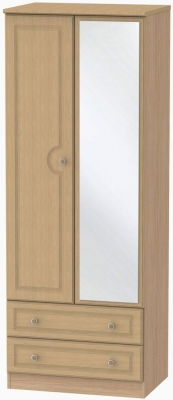Pembroke Light Oak Wardrobe - Tall 2ft 6in with 2 Drawer and Mirror