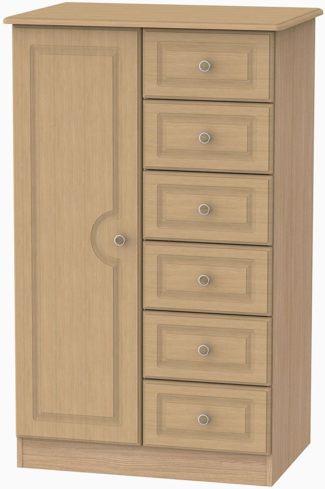 Pembroke Light Oak 1 Door 6 Drawer Children Wardrobe