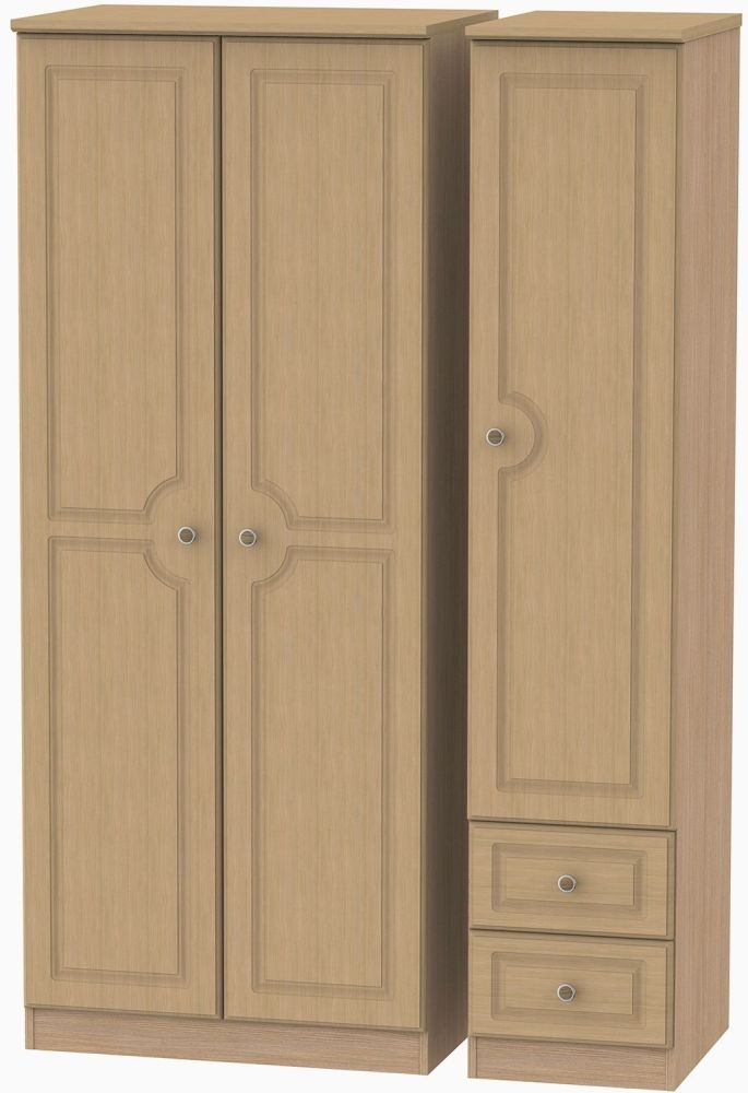 Pembroke Light Oak 3 Door 2 Drawer Plain Triple Wardrobe