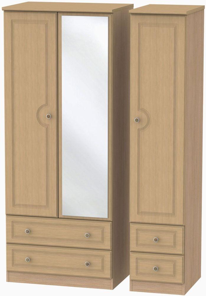 Pembroke Light Oak Triple Wardrobe - Drawer with Mirror
