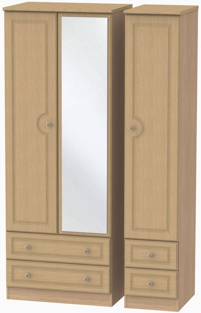 Pembroke Light Oak Triple Wardrobe with Drawer and Mirror