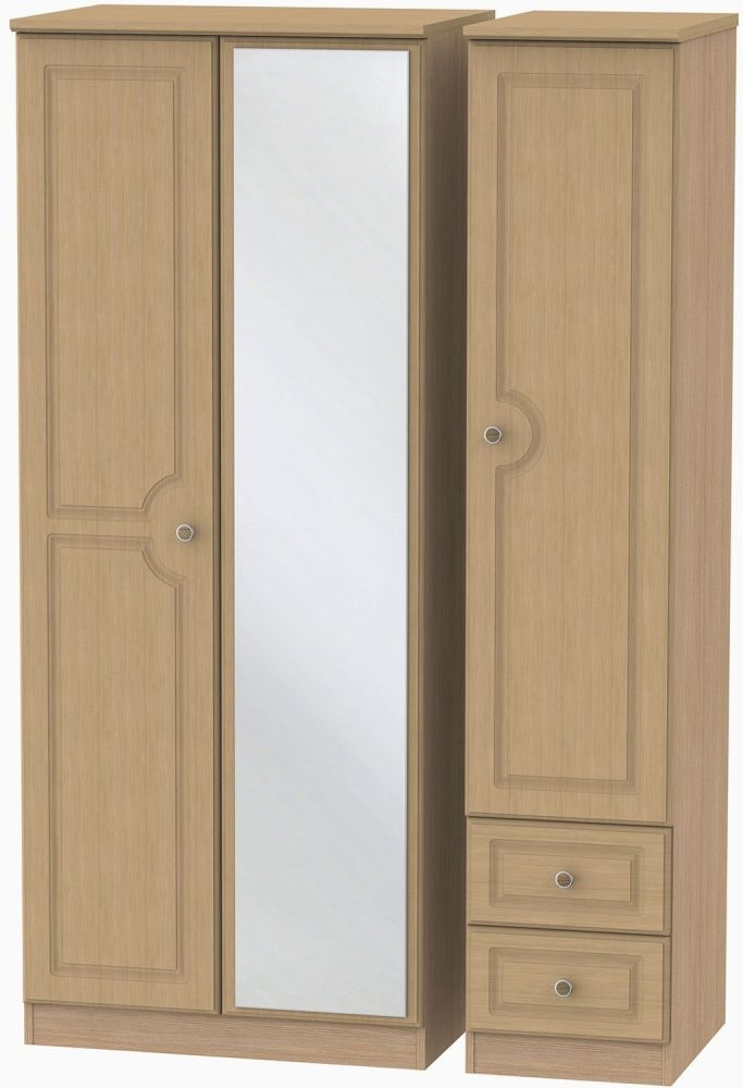 Pembroke Oak 3 Door 2 Right Drawer Mirror Wardrobe