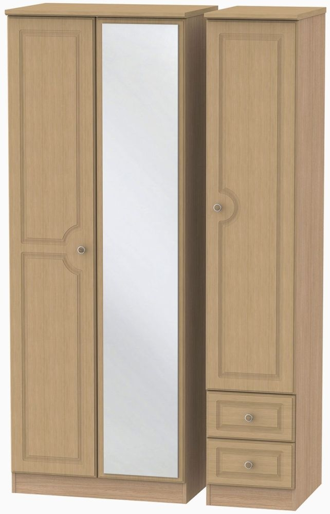 Pembroke Light Oak Triple Wardrobe - Tall with Mirror and 2 Drawer