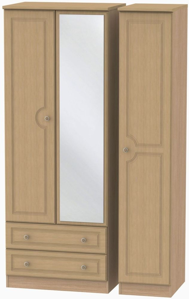 Pembroke Light Oak Triple Wardrobe - Tall with 2 Drawer and Mirror