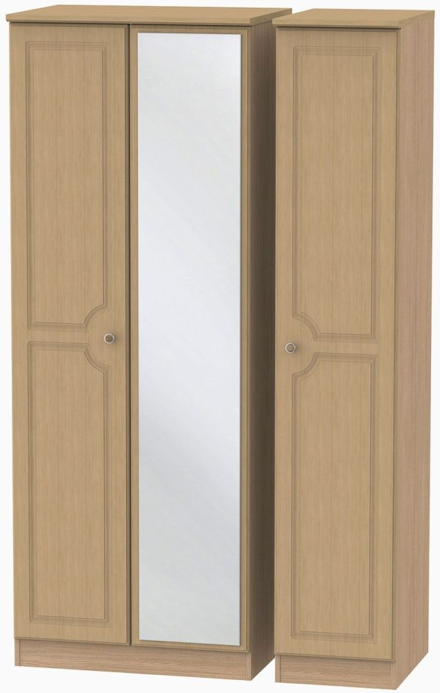 Pembroke Light Oak Triple Wardrobe - Tall with Mirror