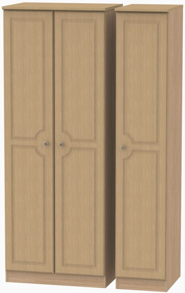 Pembroke Oak 3 Door Tall Plain Wardrobe