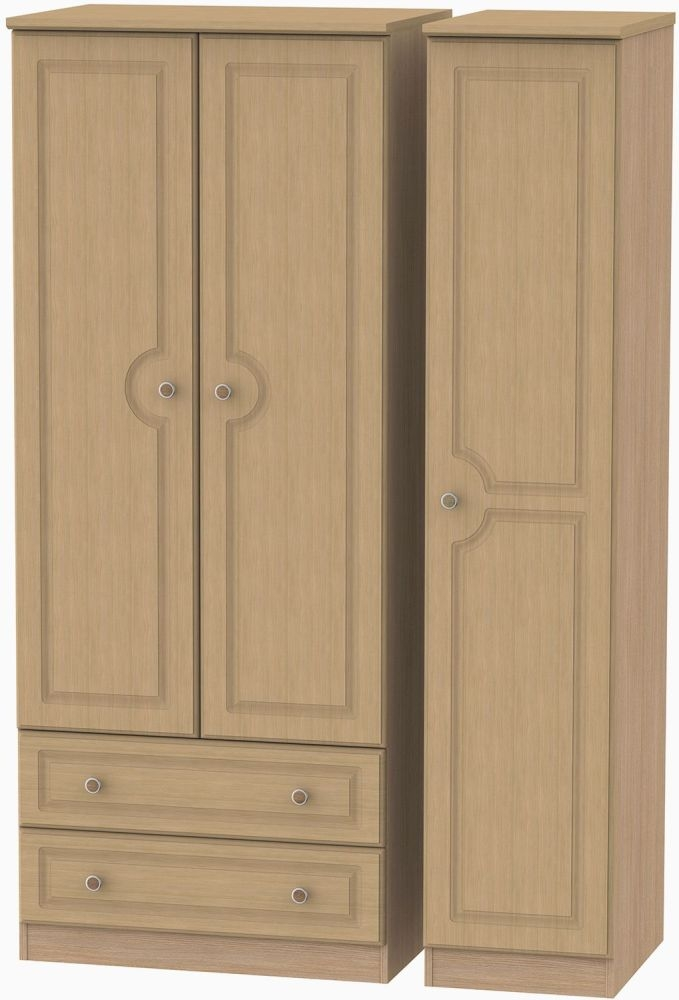 Pembroke Light Oak Triple Wardrobe with 2 Drawer