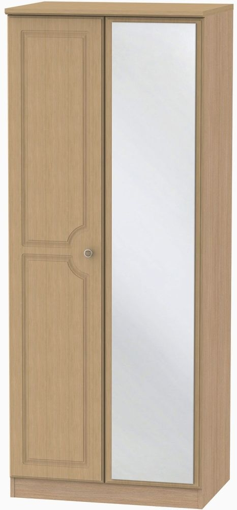 Pembroke Light Oak 2 Door Mirror Wardrobe