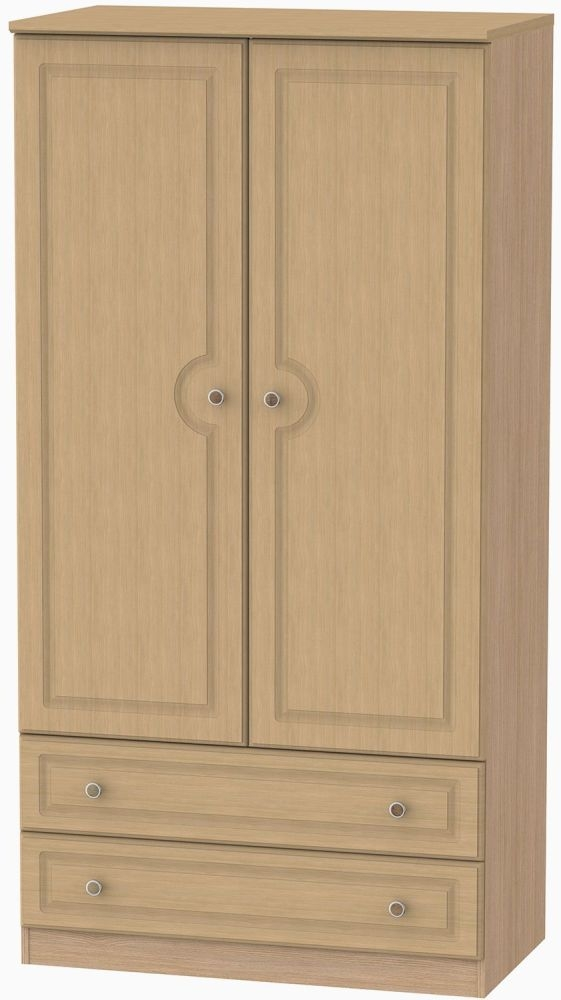 Pembroke Light Oak 2 Door 2 Drawer Double Wardrobe