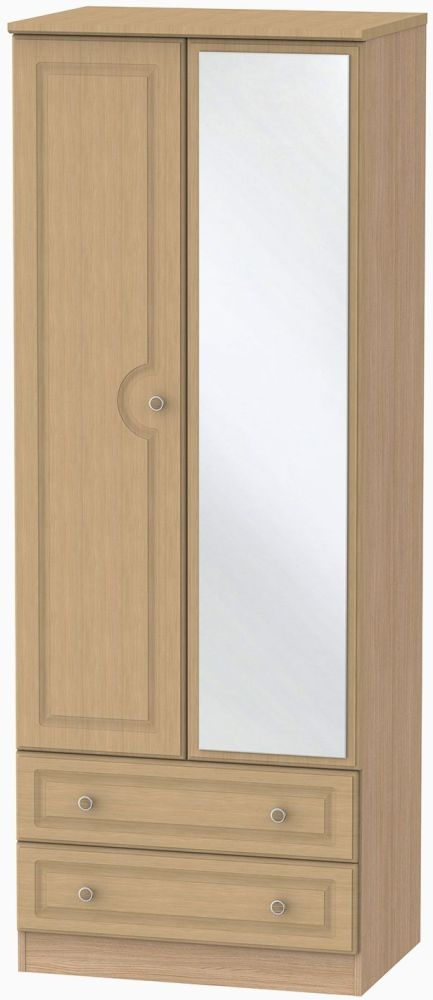 Pembroke Oak 2 Door Tall Mirror Combi Wardrobe