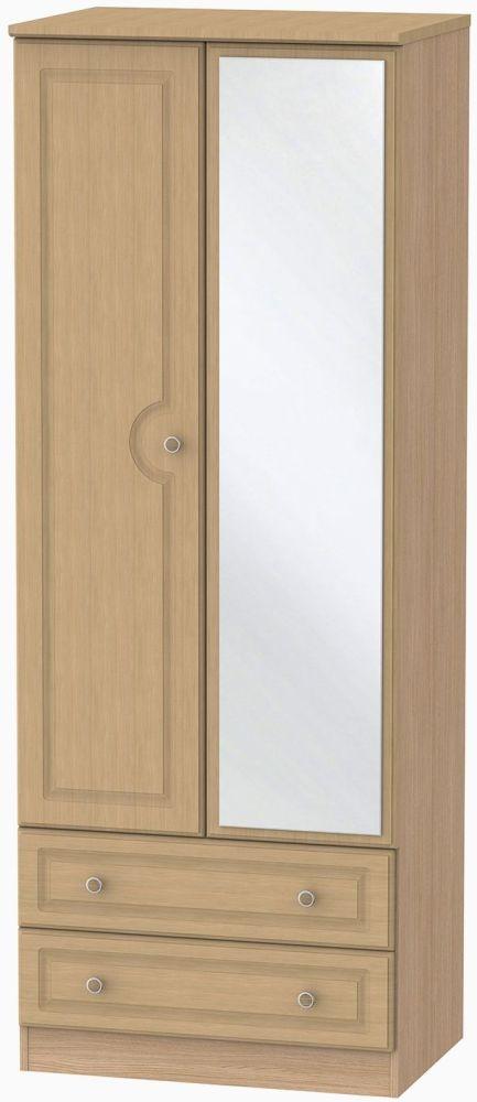 Pembroke Oak 2 Door Tall Mirror Combi Wardrobe