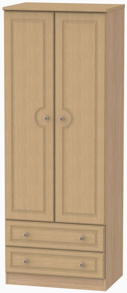 Pembroke Light Oak Wardrobe - Tall 2ft 6in with 2 Drawer