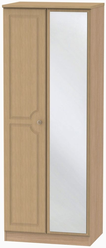 Pembroke Light Oak Wardrobe - Tall 2ft 6in with Mirror