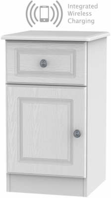 Pembroke White 1 Door 1 Drawer Bedside Cabinet with Integrated Wireless Charging Left Hand Side