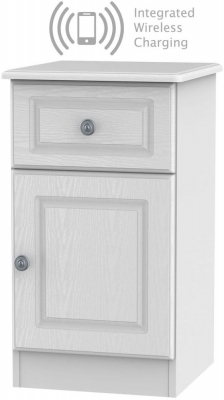 Pembroke White 1 Door 1 Drawer Bedside Cabinet with Integrated Wireless Charging Right Hand Side