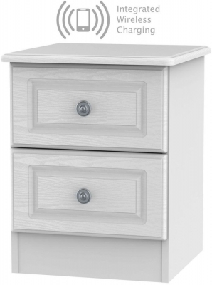 Pembroke White 2 Drawer Bedside Cabinet with Integrated Wireless Charging